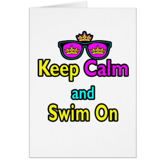 Hipster Crown Sunglasses Keep Calm And Swim On Card