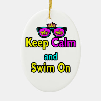 Hipster Crown Sunglasses Keep Calm And Swim On Double-Sided Oval Ceramic Christmas Ornament