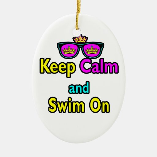 Hipster Crown Sunglasses Keep Calm And Swim On Ornaments