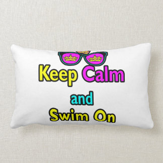 Hipster Crown Sunglasses Keep Calm And Swim On Pillow