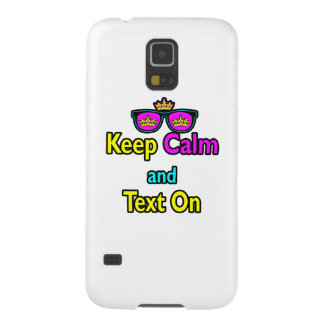 Hipster Crown Sunglasses Keep Calm And Text On Galaxy S5 Covers