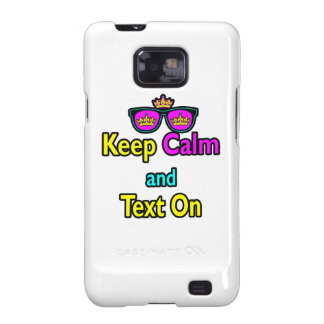Hipster Crown Sunglasses Keep Calm And Text On Samsung Galaxy SII Case