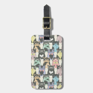 Hipster Cute Cats Pattern Bag Tag