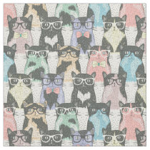 Hipster Cute Cats Pattern Fabric
