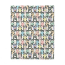 Hipster Cute Cats Pattern Fleece Blanket