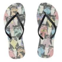 Hipster Cute Cats Pattern Flip Flops