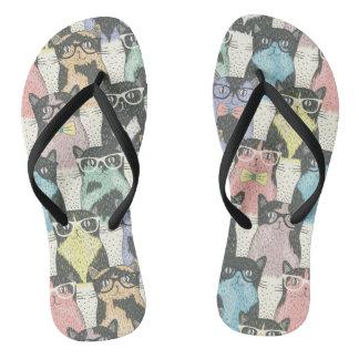 Hipster Cute Cats Pattern Flip Flops