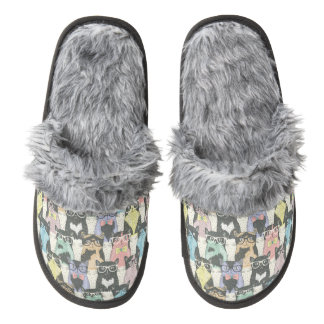 Hipster Cute Cats Pattern Pair Of Fuzzy Slippers