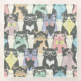 Hipster Cute Cats Pattern Glass Coaster