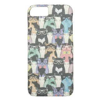 Hipster Cute Cats Pattern iPhone 7 Case