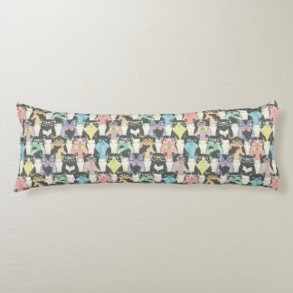 Hipster Cute Cats Pattern Body Pillow