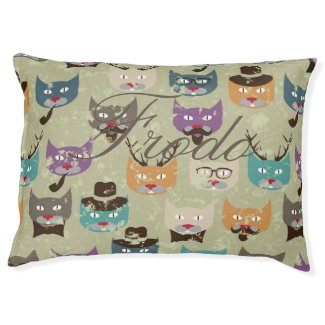 Hipster,cute,cats,pattern,multi color,grunge,retro large dog bed