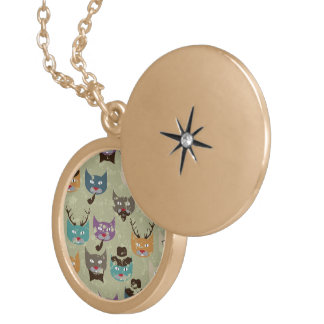 Hipster,cute,cats,pattern,multi color,grunge,retro round locket necklace