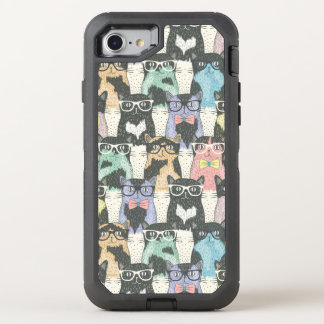 Hipster Cute Cats Pattern OtterBox Defender iPhone 7 Case