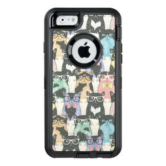 Hipster Cute Cats Pattern OtterBox Defender iPhone Case