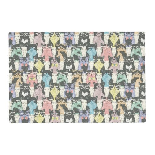 Hipster Cute Cats Pattern Placemat