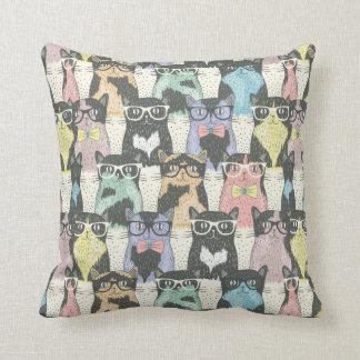 Hipster Cute Cats Pattern Throw Pillow