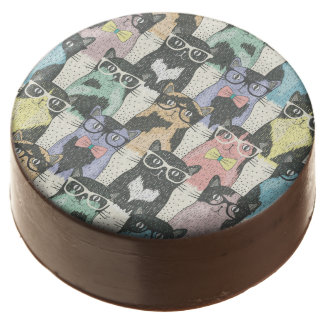 Hipster Cute Cats Pattern Chocolate Covered Oreo