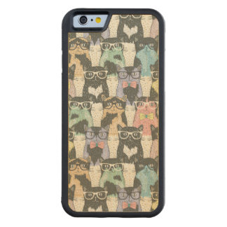 Hipster Cute Cats Pattern Carved® Maple iPhone 6 Bumper Case
