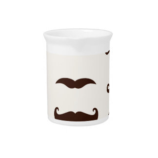 HIPSTER CUTE COLLECTION : Brown Mustaches Beverage Pitcher