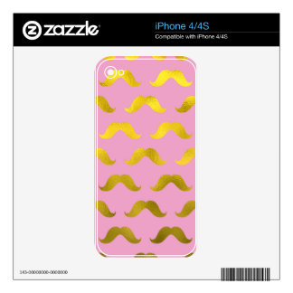 Hipster,cute,mustache,gold,pink,pattern,fun,trendy Decal For The iPhone 4