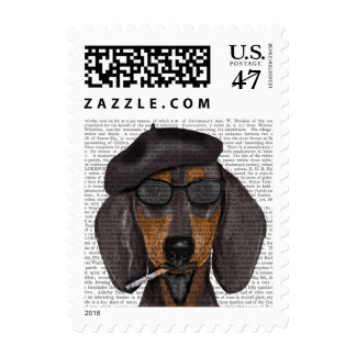 Hipster Dachshund Black and Tan Postage