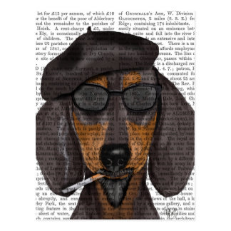Hipster Dachshund Black and Tan Postcard