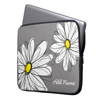 Hipster Daisy Drawing - gray yellow Laptop Computer Sleeves