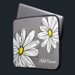 "Hipster Daisy Drawing - gray yellow Laptop Sleeve<br><div class=""desc"">Add your name to this mod gift! Daisy flowers are for hipsters!</div>"