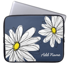 Hipster Daisy Drawing In Trendy Colors Laptop Sleeve at Zazzle