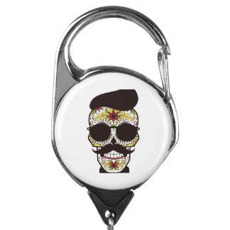 Hipster Day of the Dead Skull Badge Holder