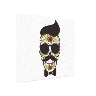 Hipster Day of the Dead Skull Canvas Print