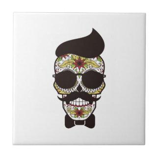 Hipster Day of the Dead Skull Ceramic Tile