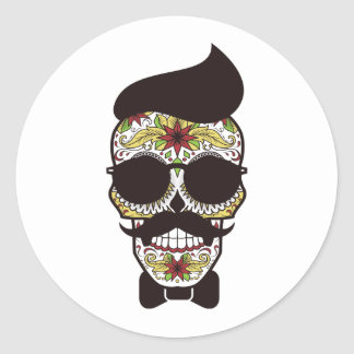 Hipster Day of the Dead Skull Classic Round Sticker