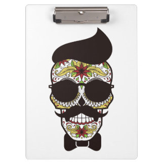 Hipster Day of the Dead Skull Clipboard