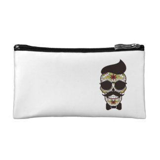 Hipster Day of the Dead Skull Makeup Bag