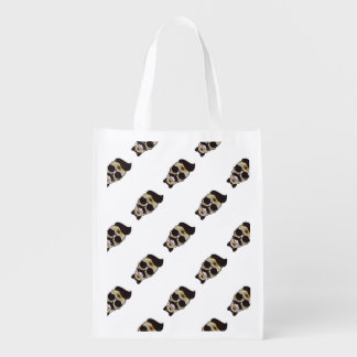Hipster Day of the Dead Skull Market Tote