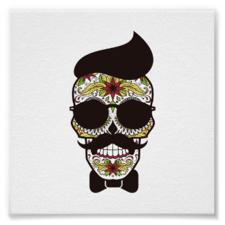 Hipster Day of the Dead Skull Poster