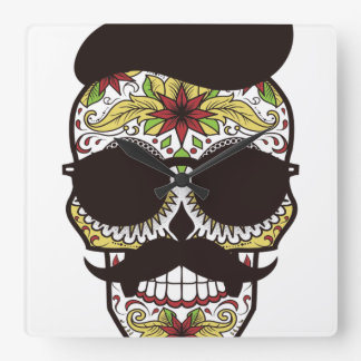 Hipster Day of the Dead Skull Square Wall Clock