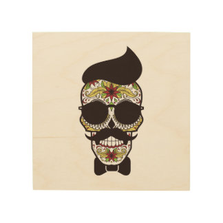 Hipster Day of the Dead Skull Wood Print