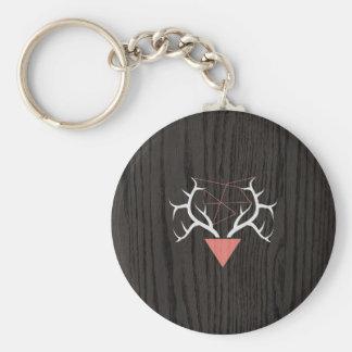 Hipster Deer Antlers Over Woodgrain Keychains