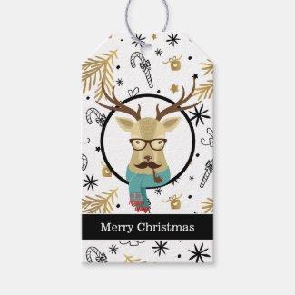 Hipster Deer Christmas Gift Tags