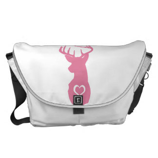 HIPSTER DEER HEAD WITH HEARTS COURIER BAG