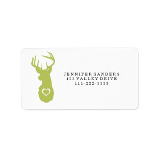 HIPSTER DEER HEAD WITH HEARTS PERSONALIZED ADDRESS LABELS