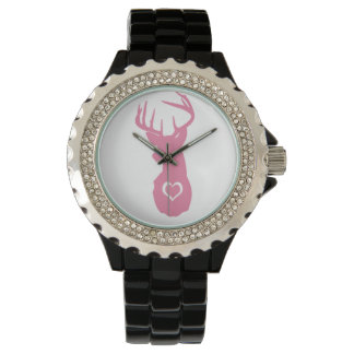 HIPSTER DEER HEAD WITH HEARTS WRIST WATCHES