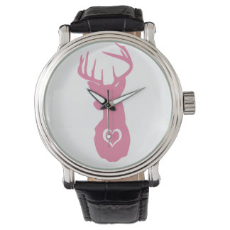 HIPSTER DEER HEAD WITH HEARTS WRISTWATCH