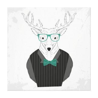 Hipster deer illustration canvas print