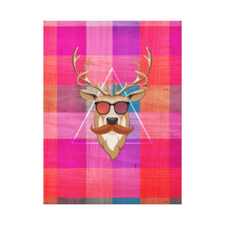 Hipster Deer On Plaid Canvas Print