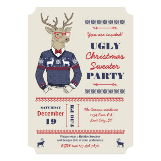 Hipster Deer Ugly Christmas Sweater Invitation at Zazzle