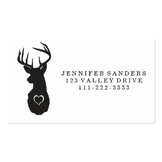 HIPSTER DEER WITH HEARTS BUSINESS CARD TEMPLATE